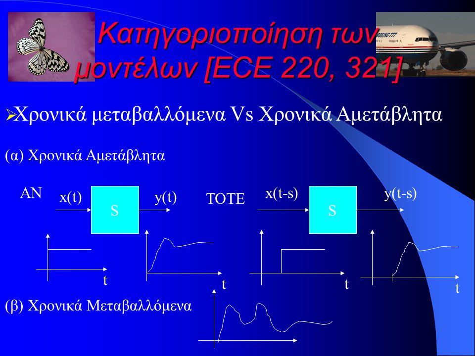 Κατηγοριοποίηση των μοντέλων [ECE 220, 321]